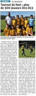 Dauphiné Libéré du 09-06-2019- Tournoi de foot de Chabeuil
