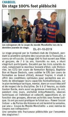 le Dauphiné Libéré du 31-10-2019- Les jeunes et le foot de Chabeuil
