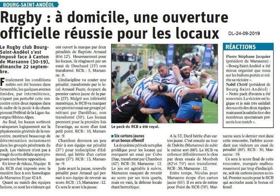Dauphiné libéré du 24-09-2019- Rugby de Bourg Saint-Andéol