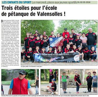 Dauphiné Libéré du 02-05-2018-Ecole de Pétanque-Valence