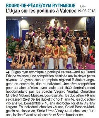 Dauphiné Libéré du 19-06-2018-UGAP GYM Rythmique