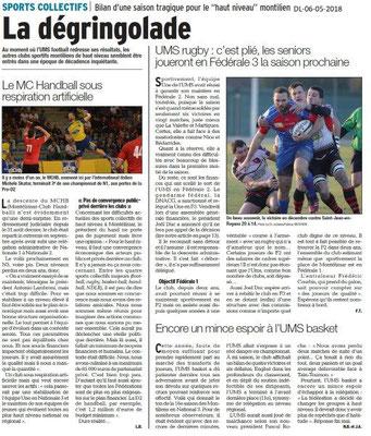 Dauphiné Libéré du 06-05-2018-Sports collectifs à Montélimar