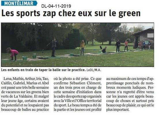Le Dauphiné Libéré du 04-11-2019- Sport Zap Golf de Montélimar
