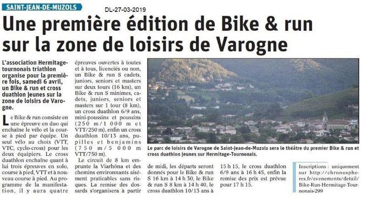 Dauphiné Libéré du 27-03-2019- 1ère édition du Bike&run Hermitage-Tournonais