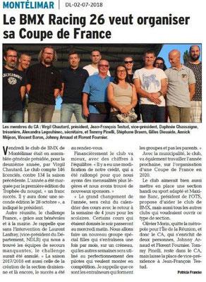 Dauphiné Libéré du 02-07-2018- BMX Racing 26 Montélimar