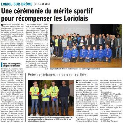 Dauphiné Libéré du 11-11-2018- Mérite Sportif Loriolais