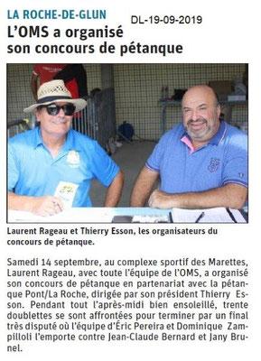 Dauphiné libéré du 19-09-2019- OMS la Roche de Glun