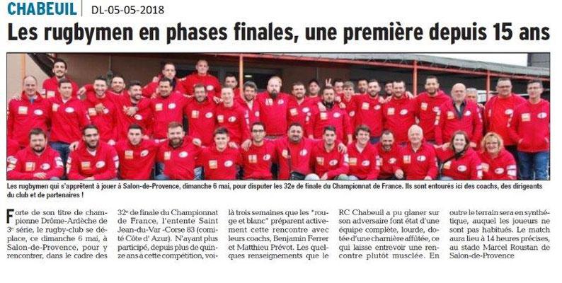 Dauphiné Libéré du 05-05-2018-Les rygbymen de Chabeuil