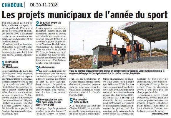 Dauphiné Libéré le 20-11-2018- Le sport à Chabeuil