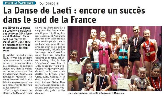 Le Dauphiné Libéré du 10-04-2019- Danse de Laeti PLV