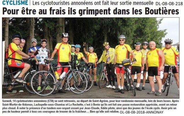 Dauphiné Libéré du 08-08-2018- Robert Herelier en sortie cyclisme
