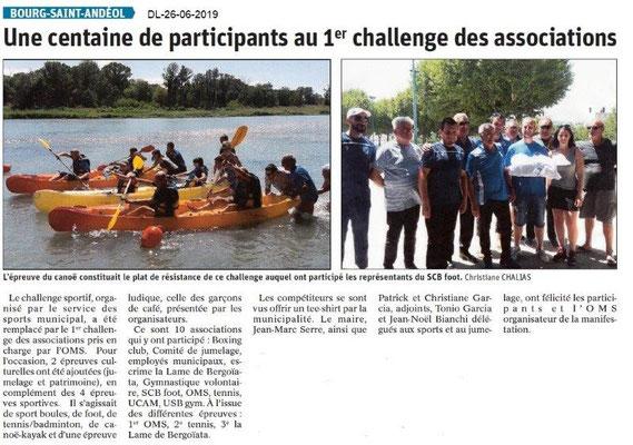 Dauphiné Libéré du 26-06-2019- 1er Challenge des Associations à BSA