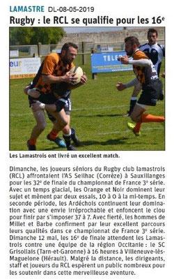Le Dauphiné Libéré du 08-05-2019- Rugby de Lamastre