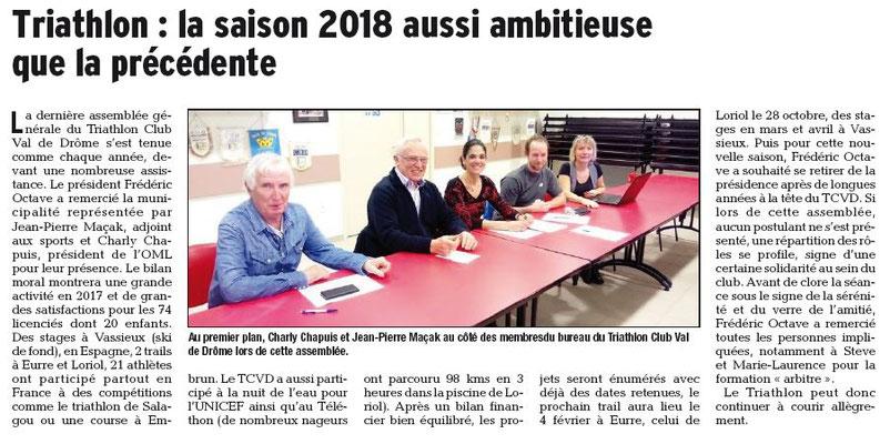 Dauphiné Libéré du 18-01-2018-Loriol-AG TRIATHLON