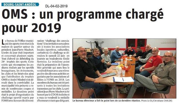 Dauphiné Libéré du 04-02-2019- réunion OMS Bourg Saint-Andéol