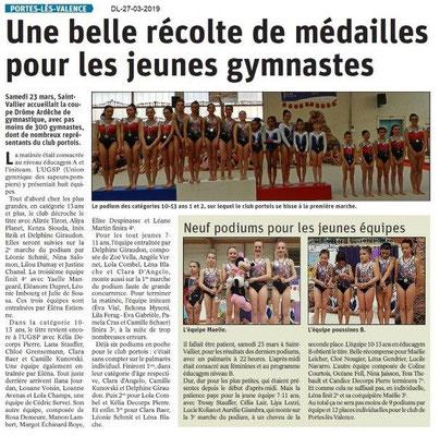 Dauphiné Libéré du 27-03-2019- GYM de Portes-lès-Valence