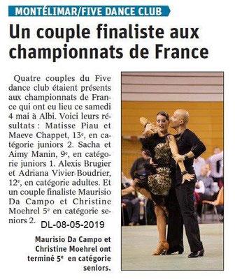 Le Dauphiné Libéré du 08-05-2019- Five dance club de Montélimar