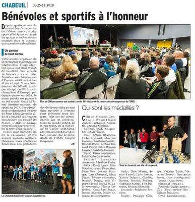 Dauphiné Libéré le 25-11-2018- Récompenses sportives à Chabeuil