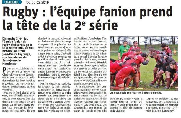 Dauphiné Libéré du 05-02-2019- Rugby à Chabeuil