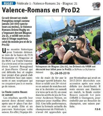 Le Dauphiné Libéré du 26-05-2019- Valence-Romans en Pro D2