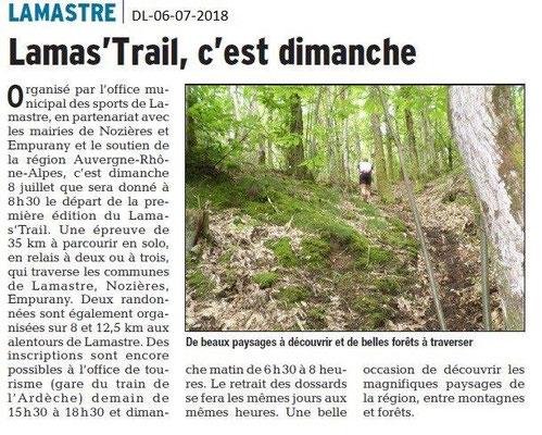 Dauphiné Libéré du 06-07-2018- Lamas'Trail