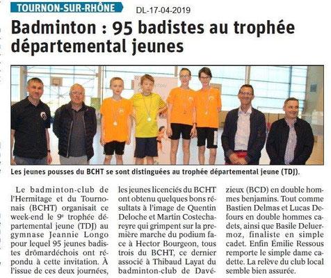 Le Dauphiné Libéré du 17-04-2019- Badminton Tournon