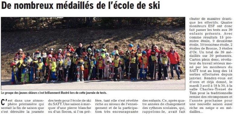 Dauphiné Libéré du 21-03-2018-Skieurs médaillés Tain l'Hermitage