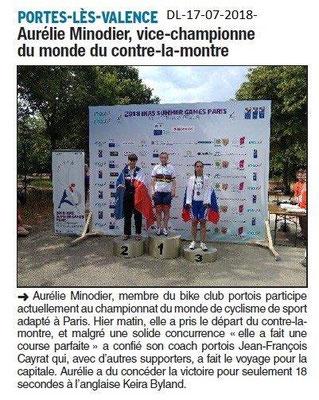 Dauphiné Libéré du 17-07-2018- A.Minodier Vice Championne du Monde Cyclisme Sport-Adapté