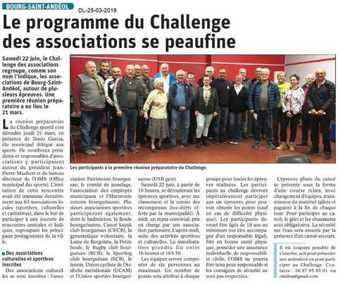 Dauphiné Libéré du 25-03-2019- Challenge des associations BSA