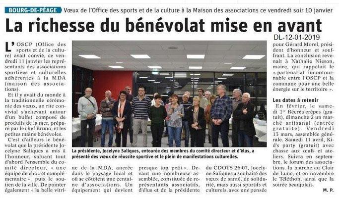 Dauphiné Libéré du 12-01-2020- Voeux OSCP