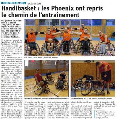 Dauphiné Libéré du 22-08-2019- Handisbasket de Guillerand-Granges