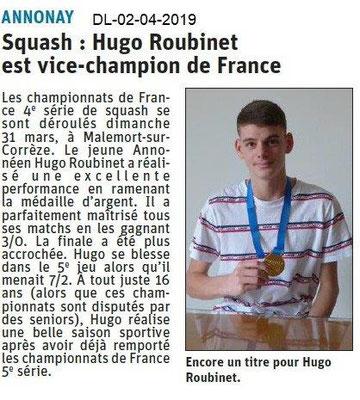 Le Dauphiné Libéré du 02-04-2019- Squash d'Annonay