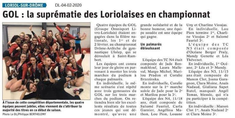 Le Dauphiné Libéré du 04-02-2020- Gym loriolaise