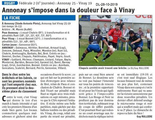 le Dauphiné Libéré du 28-10-2019- Rugby d'Annonay
