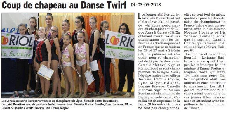 Dauphiné Libéré du 03-05-2018- Twirling -Loriol