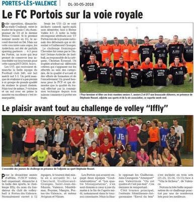 Dauphiné libéré du 30-05-2018- Foot et Volley à Portes-les-Valence