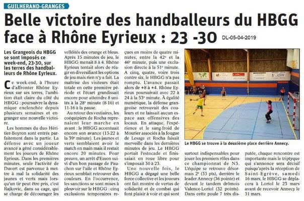 Le Dauphiné Libéré du 05-03-2019- Handball de Guilherand