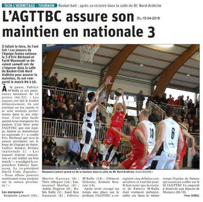 Le Dauphiné Libéré du 15-04-2019- Basket Tain-Tournon