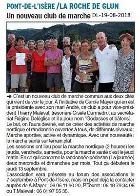 Dauphiné Libéré du 19-08-2018- Nouveau club de marche
