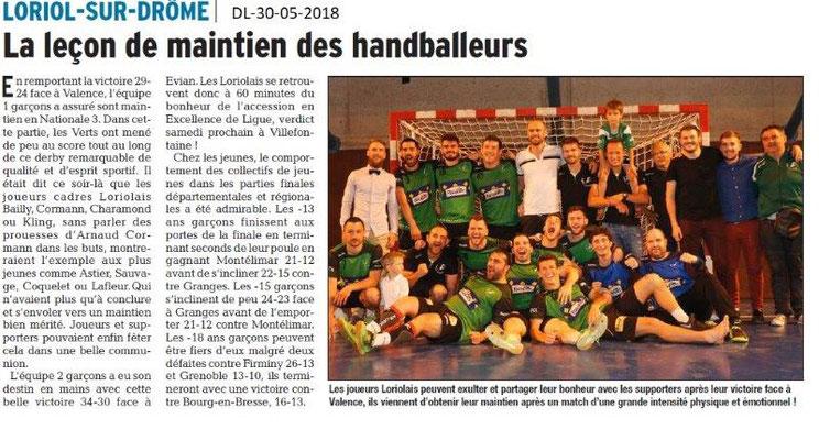 Dauphiné libéré du 30-05-2018-Handball Loriol
