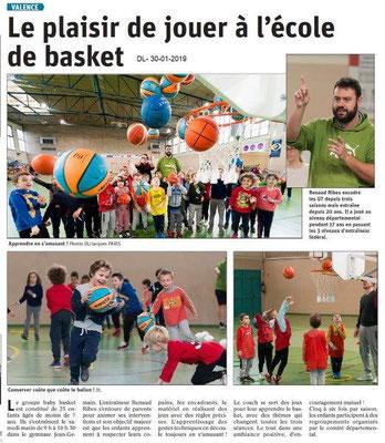 Dauphiné Libéré du 30-01-2019- Basket à Valence