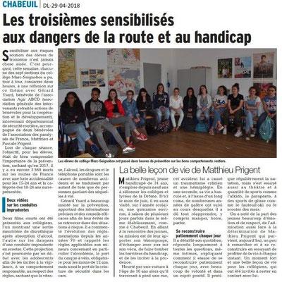Dauphiné Libéré du 29-04-2018-Sensibilisation et prévention-Chabeuil