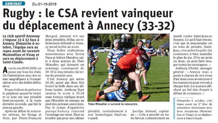 Dauphiné libéré du 01-10-2019- Rugby d'Annonay