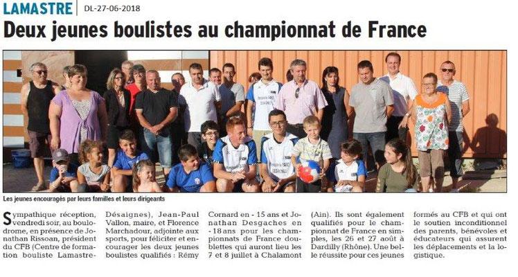 Dauphiné Libéré du 27-06-2018- Lamastre-Jeunes Boulistes au CHAM.FRANCE