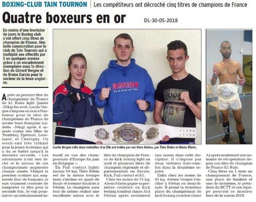 Dauphiné libéré du 30-05-2018-Boxing-Club de Tain-Tournon