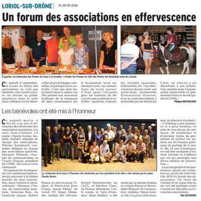 Dauphiné Libéré du 09-09-2018- Forum Associations de Loriol