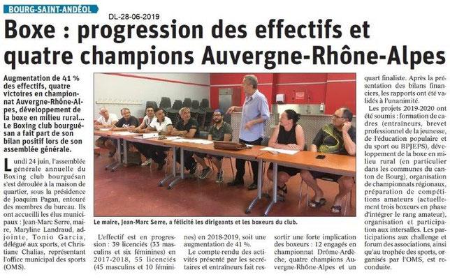 Dauphiné Libéré du 28-06-2019- Boxing club bourguésan