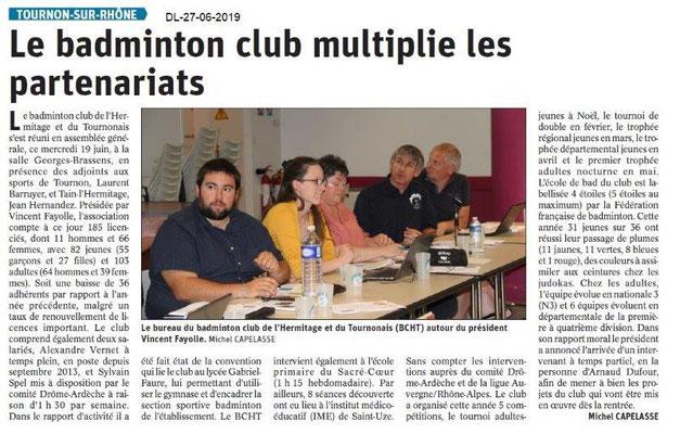 Dauphiné Libéré du 27-06-2019- Badminton de Tournon