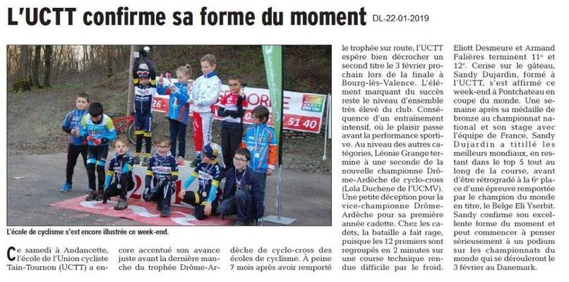 Dauphiné Libéré du 22-01-2019- Ecole de Cyclisme de Tain-Tournon