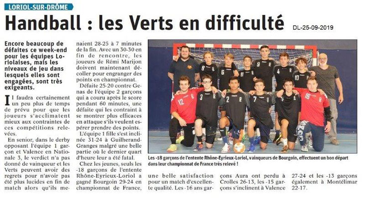 Dauphiné libéré du 25-09-2019- Handball de Loriol.
